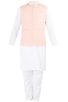 Peach Embroidered Nehru Jacket with White Kurta and Churidar Pants