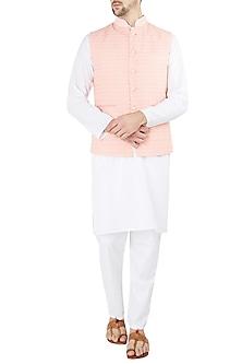 Peach Embroidered Nehru Jacket with White Kurta and Churidar Pants by Ankit V Kapoor