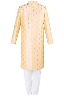 Citrus Peach Embroidered Sherwani Set