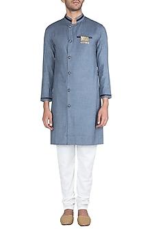 Steel Grey Kurta With Churidaar Pants by Ankit V Kapoor