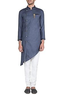 Blue Grey Asymmetric Kurta With Churidaar Pants by Ankit V Kapoor