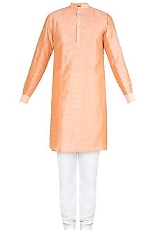Peach Kurta With Churidaar Pants by Ankit V Kapoor