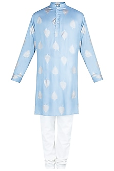 Blue Printed Kurta With Churidaar Pants by Ankit V Kapoor