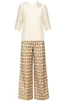 Ivory Bird Motif Top and Gold Culottes Set