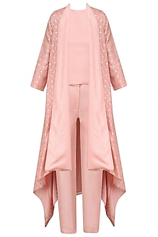 Pink Top and Pants with Front Open Chanderi Cape
