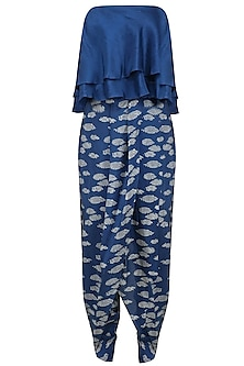 Blue Off Shoulder Top and Printed Dhoti Pants Set