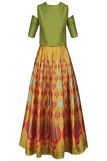 Green Cold Shoulder Top and Yellow Lotus Motifs Skirt Set