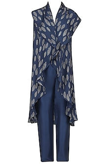 Blue Printed Cape and Pants Set