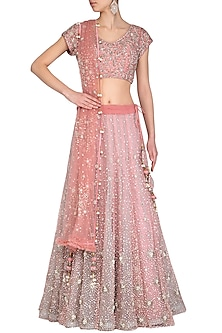 Rose Gold Embroidered Lehenga Set by AVIGNA by Varsha and Rittu
