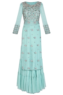 Mint Green Embroidered Sharara Set by AVIGNA by Varsha and Rittu
