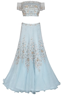 Ice Blue Embroidered Lehenga Set by AVIGNA by Varsha and Rittu