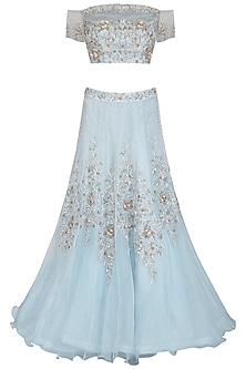 Ice Blue Embroidered Lehenga Set