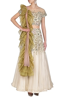 Off White Embroidered Lehenga Set by AVIGNA by Varsha and Rittu