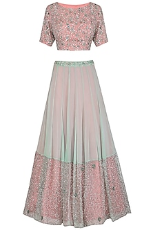Mint Green & Peach Embroidered Lehenga Set by AVIGNA by Varsha and Rittu