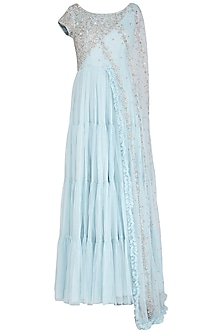 Ice Blue Embroidered Saree Gown by AVIGNA by Varsha and Rittu