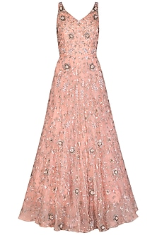Peach Embroidered Gown by AVIGNA by Varsha and Rittu