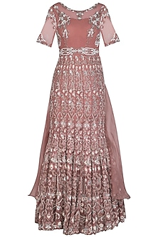 Rose Gold Embroidered Gown by AVIGNA by Varsha and Rittu
