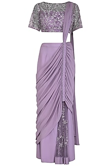 Lilac Embroidered Drape Saree Set by AVIGNA by Varsha and Rittu