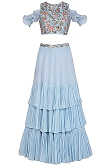 Ice Blue Embroidered Crop Top With Skirt