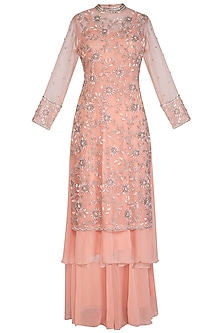 Peach Embroidered Anarkali Set
