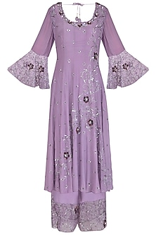 Lilac Embroidered Anarkali Set