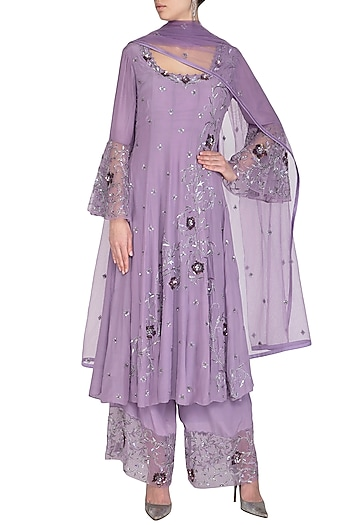 Lilac Embroidered Anarkali Set by AVIGNA by Varsha and Rittu