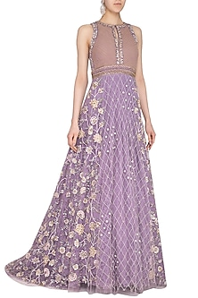 Lilac Embroidered Gown by AVIGNA by Varsha and Rittu