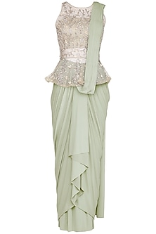 Mint Green Drape Saree With Embriodered Blouse by AVIGNA by Varsha and Rittu