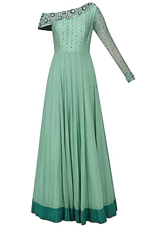 Pistachio Green One Shoulder Embroidered Gown