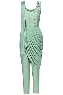 Pistachio Green Embroidered Drape Jumpsuit by AVIGNA by Varsha and Rittu