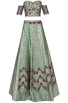 Pistachio Green Embroidered Lehenga Set
