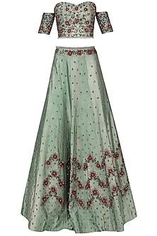 Pistachio Green Embroidered Lehenga Set by AVIGNA by Varsha and Rittu