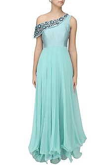 Powder Blue Shoulder Anarkali