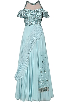 Powder Blue Cold Shoulder Embroidered Gown