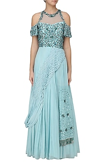 Powder Blue Shoulder Gown