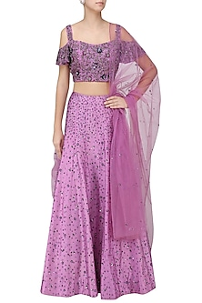 Purple Embroidered Set