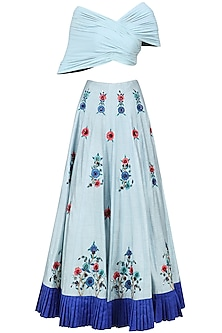 Powder Blue Embroidered Lehenga with Drape Blouse Set