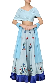 ba8a97a94f118b Powder Blue Embroidered Lehenga with Drape Blouse Set by AVIGNA by Varsha  and Rittu