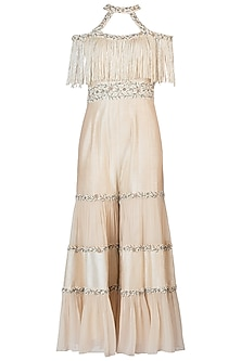 Off White Tassels Embroidered Jumpsuit by AVIGNA by Varsha and Rittu