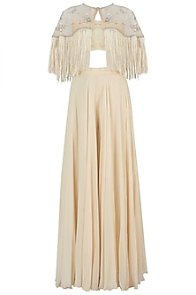 Off White Embroidered Cape with Bustier and Palazzo Pants