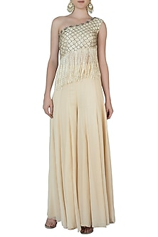Off White Embroidered Crop Top with Palazzo Pants by AVIGNA by Varsha and Rittu