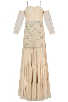Off White Embroidered Kurta with Sharara Pants by AVIGNA by Varsha and Rittu