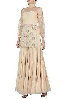 Off White Embroidered Kurta with Sharara Pants by AVIGNA by Varsha and Rittu