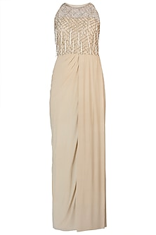 Off White Embroidered Drape Gown