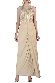 Off White Embroidered Drape Gown by AVIGNA by Varsha and Rittu