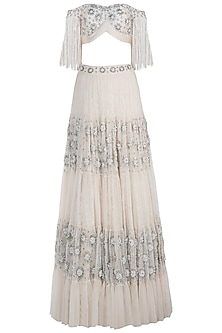 Off White Tassels Embroidered Lehenga Set