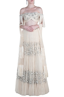 Off White Tassels Embroidered Lehenga Set by Avigna By Varsha And Rittu