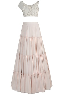 Off White Embroidered Blouse With Tiered Lehenga Skirt