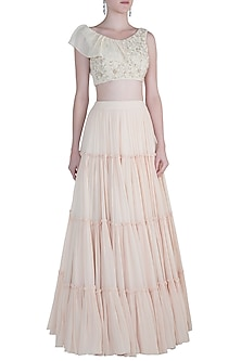 Off White Embroidered Blouse With Tiered Lehenga Skirt by Avigna By Varsha And Rittu