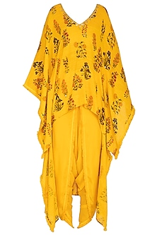 Yellow Printed & Embroidered Kaftan With Dhoti Pants by Ayinat By Taniya O'Connor